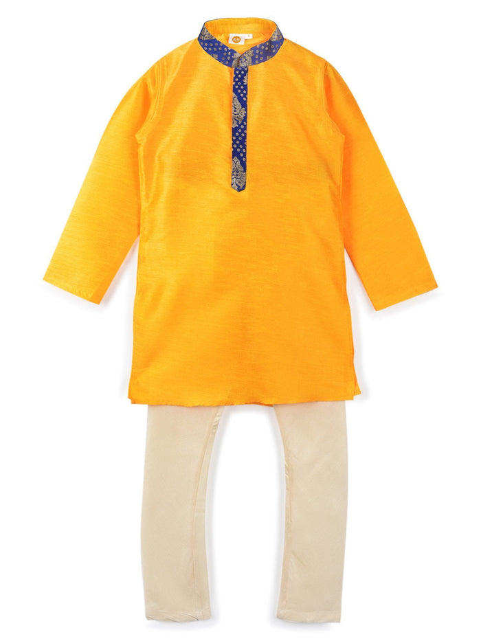 K&U Boys' Yellow & Cream Kurta Pyjama Kurta Pyjama Set K&U