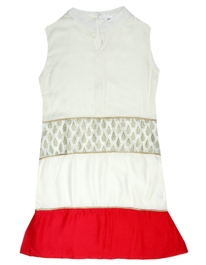 [product_code],K&U Girls' Offwhite Red Panelled Block Printed Rayon Kurti ,Kurti - Sitaarey