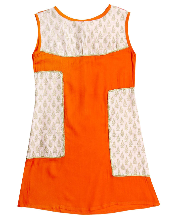 [product_code],K&U Girls' Offwhite Orange Block Printed Rayon Kurti ,Kurti - Sitaarey