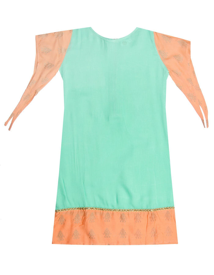 [product_code],K&U Girls' Sea Green & Peach Block Printed Rayon Kurti ,Kurti - Sitaarey