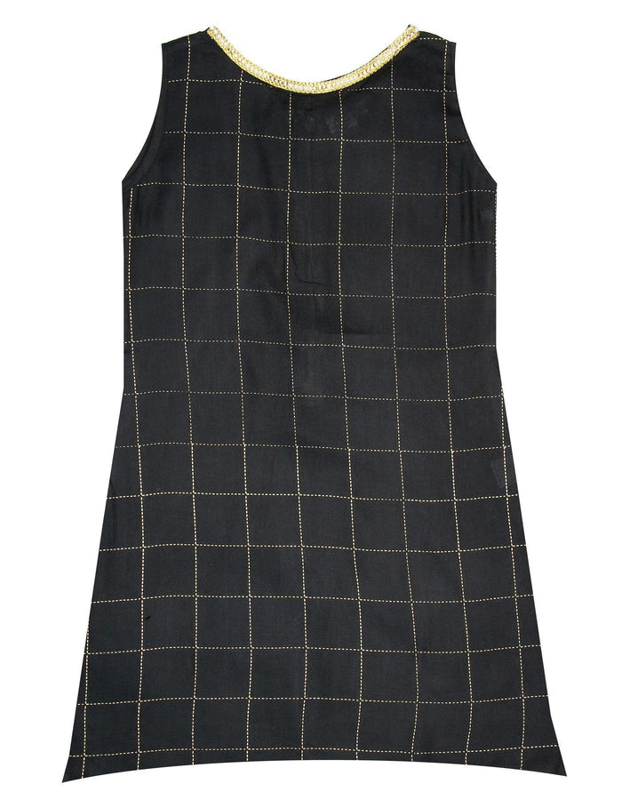 [product_code],K&U Girls' Black Checkered Block Printed Rayon Kurti ,Kurti - Sitaarey
