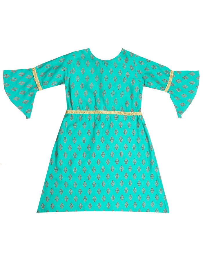 [product_code],K&U Girls' Green Bell Sleeved Block Printed Rayon Kurti ,Kurti - Sitaarey
