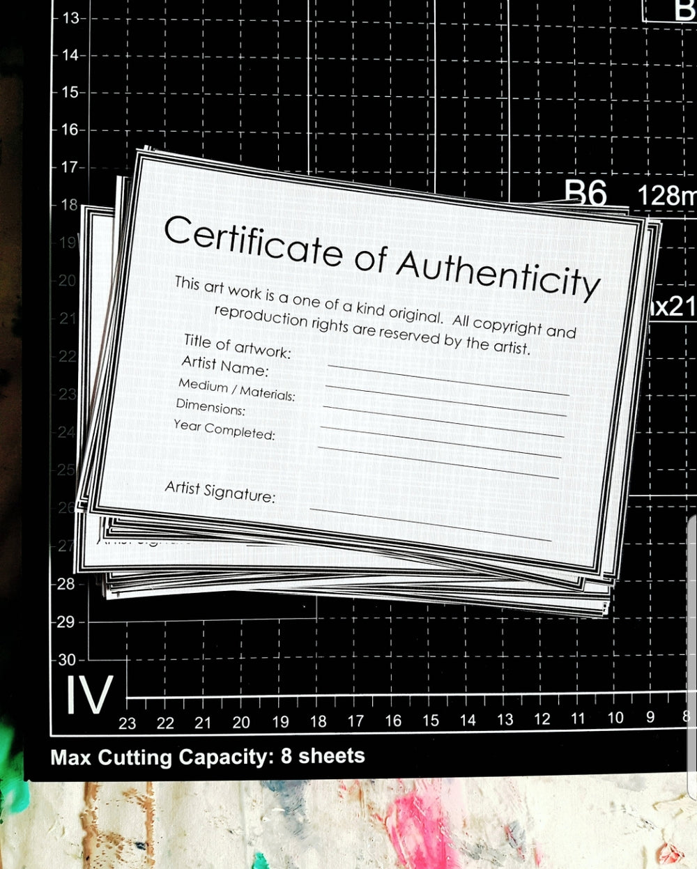 Certificate of authenticity digital downloads for original art works, limited edition fine art prints / giclee prints and photographic prints