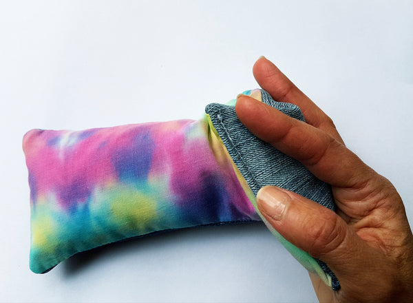 Eco friendly wheat bag made with upcycled fabric 'Rainbow Tie Dye'