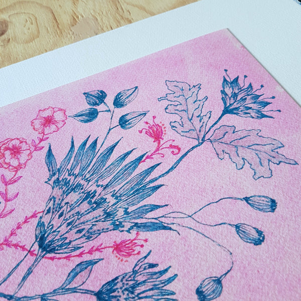 Fine art print of Jacinta Payne' handdrawn floral illustration 'Vintage Blooms'