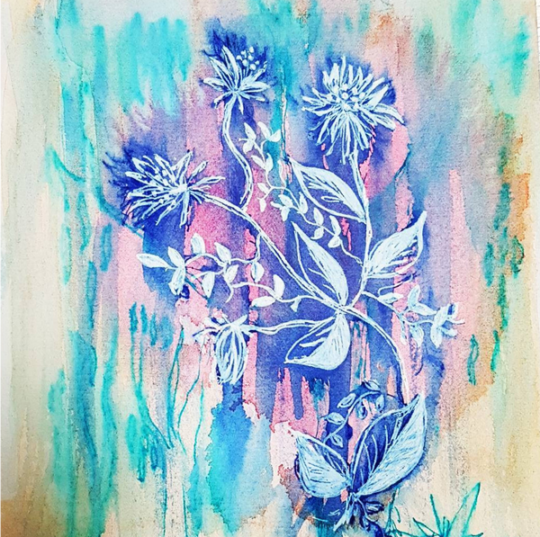 Blue Wash Floral Watercolor and ink illustration by Minnie&Lou, Melbourne Art Prints