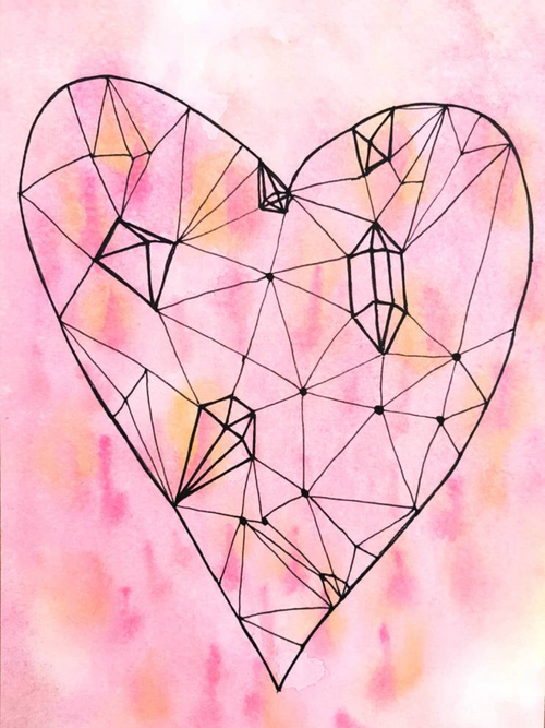 Jewelled Heart archival art print by Minnie&Lou
