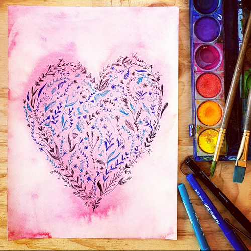 Floral Heart watercolour painting by Jacinta Payne .