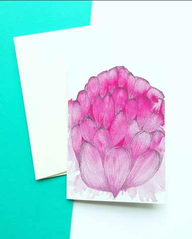 Pink Waratah greeting card by Minnie&Lou, Melbourne Australia.