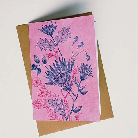 Vintage Blooms greeting card by Minnie&Lou. Pink watercolour with teal ink