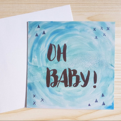 "New baby boy card ""Oh Baby"" printed from the original Blue watercolour and brush lettering design by Jacinta Payne"