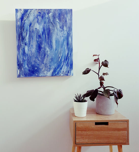Blue Abstract modern art work by Jacinta Payne, Melbourne Australia. Art for your walls.