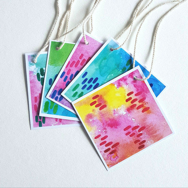 Minnie&Lou gift tags, printed from the original hand printed watercolour designs by Jacinta Payne