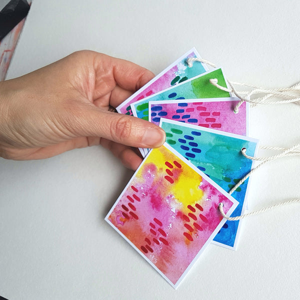 Any occasion gift tags, modern designs printed from the original watercolours of Jacinta Payne