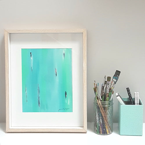 Teal abstract acrylic painting on paper by Jacinta Payne