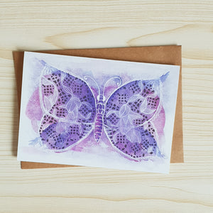 'Serene Blue Moth' any occasion Greeting Card by Minnie&Lou
