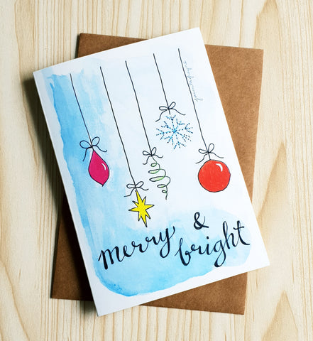 Merry & Bright Christmas card by Minnie&Lou