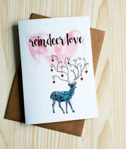 Reindeer Love Christmas card by Minnie&Lou
