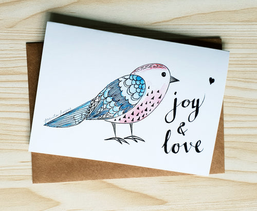 "Cute Birdy Christmas card ""Joy & Love"""