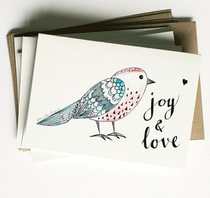 "Christmas cards pack - Set of 5 ""Cute Birdy"" Christmas cards in A6 size including envelopes"