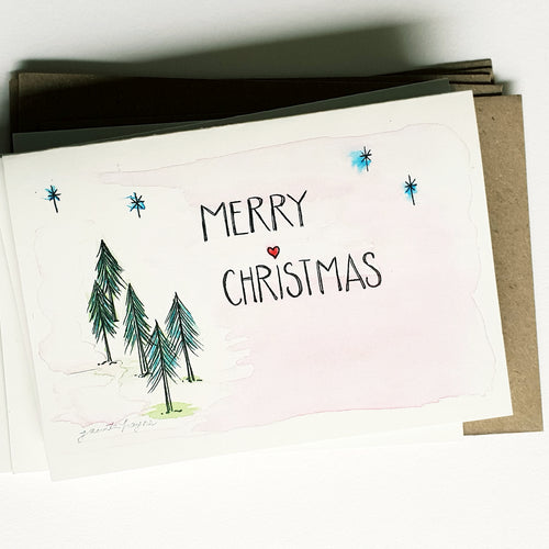 "Christmas cards pack - Set of 5 ""Merry Christmas"" Fir Tree design cards in A6 size including envelopes"