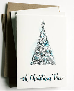 "Christmas cards pack - Set of 5 ""Oh Christmas Tree"" cards in A6 size including envelopes"