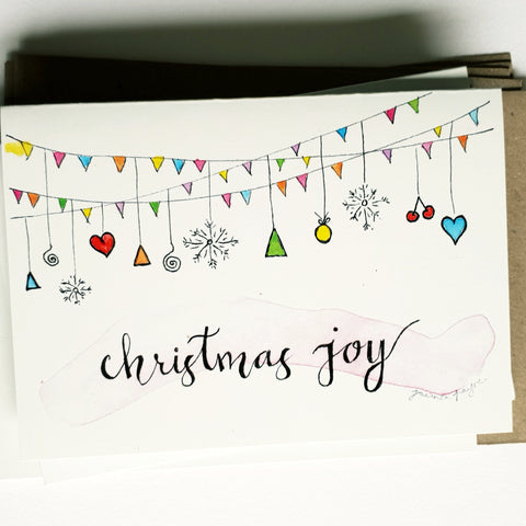 "Christmas cards pack - Set of 5 ""Christmas Joy"" cards in A6 size including envelopes"