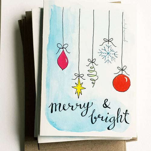 "Christmas cards pack - Set of 5 ""Merry & Bright"" cards in A6 size including envelopes"