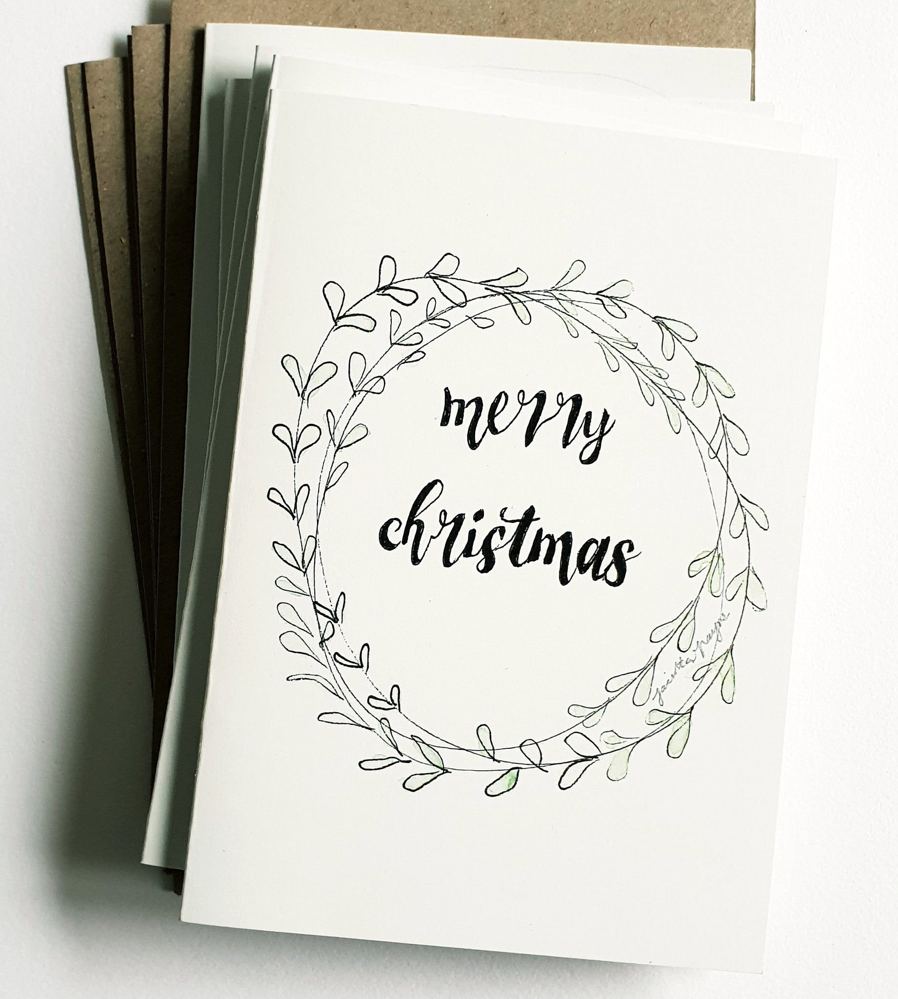 "Christmas cards pack - Set of 5 ""Christmas Wreath"" Christmas cards in A6 size including envelopes"