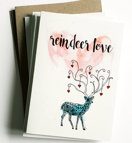 "Christmas cards pack - Set of 5 ""Reindeer Love"" Christmas cards in A6 size including envelopes"
