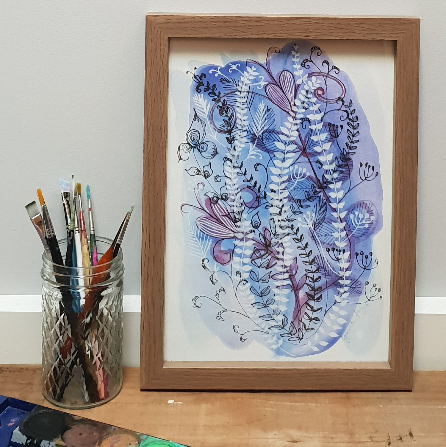 Art for the home, blue and white floral