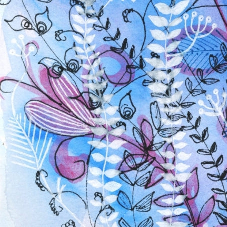 Blue and white modern floral art prints Melbourne