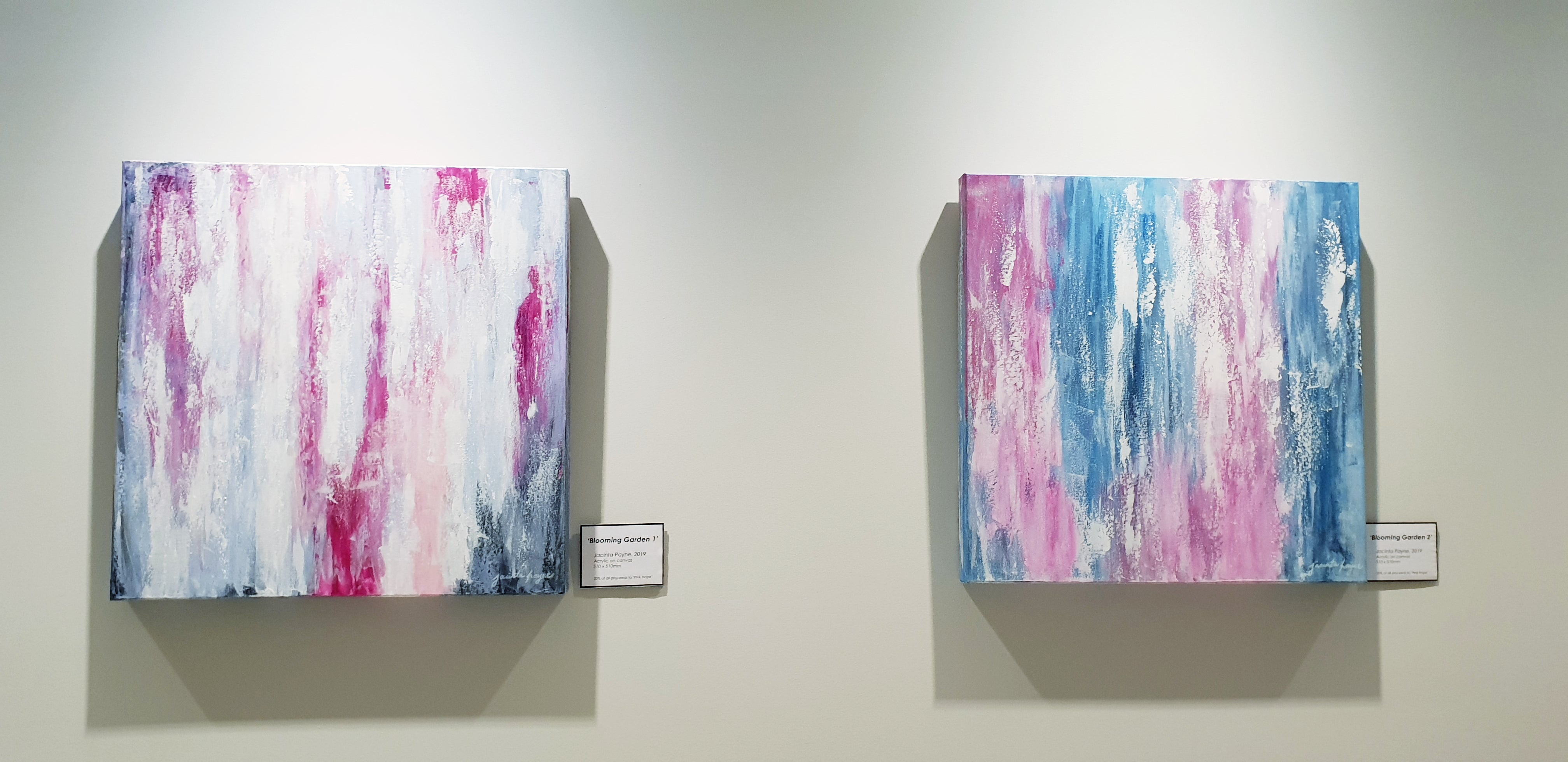 Blooming Garden 1 & 2 by Melbourne artist Jacinta Payne, installed at Imaging Associates Mitcham