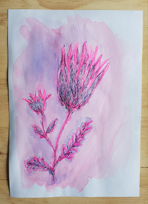 'Sunlit Protea' Original mixed media painting on A3 watercolour paper