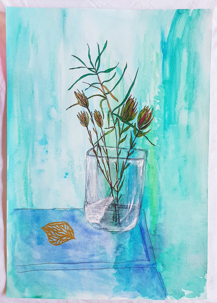 Leucadendron painting by Melbourne artist Jacinta Payne