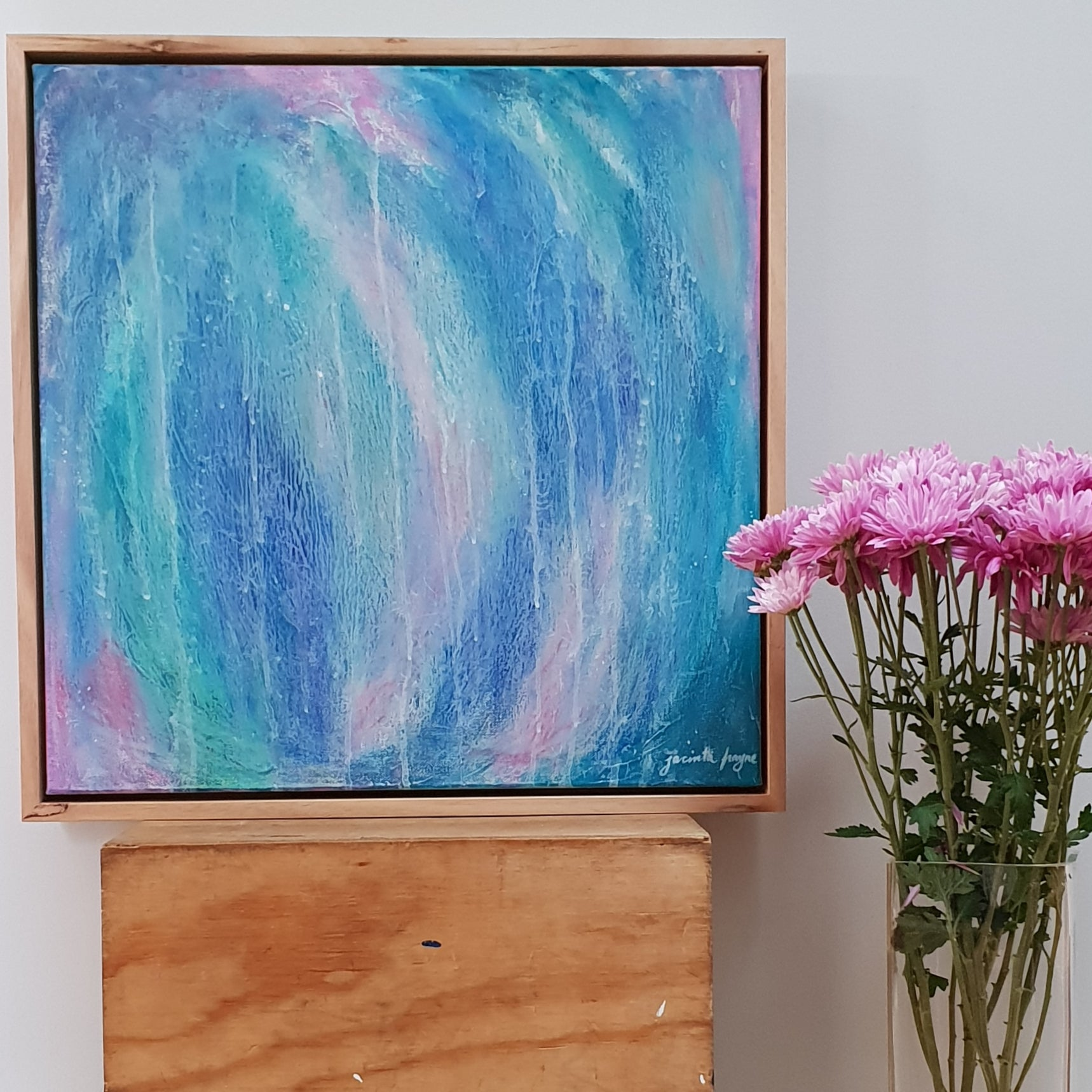 'Rain Dance in Fairy Land' Blue and pink modern abstract art work by Melbourne artist Jacinta Payne