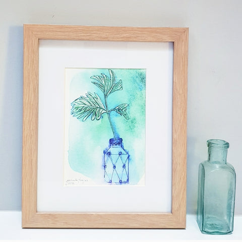 Modern botanical watercolour, Green leaf watercolour