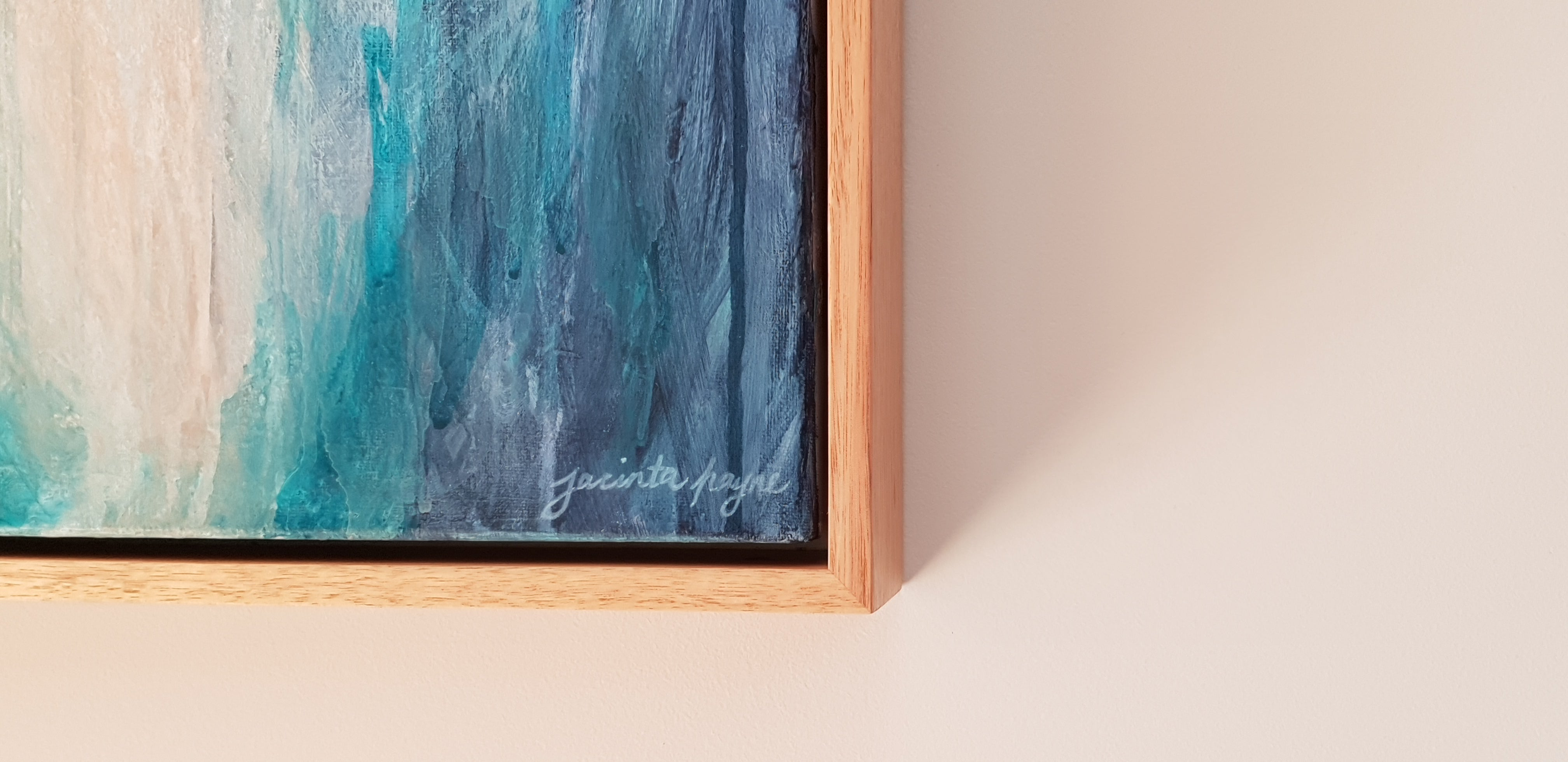 Treading Lightly, abstract painting, custom framed in PEFC Sustainable Australian hardwood