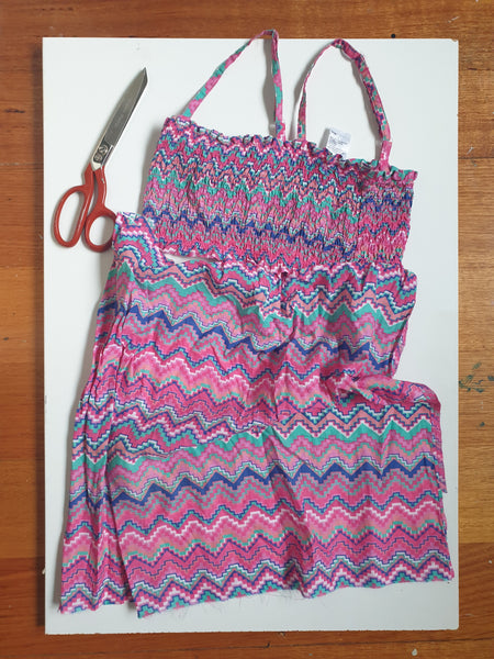 Eco friendly wheat bag made with upcycled fabric 'Colourful Abstract'