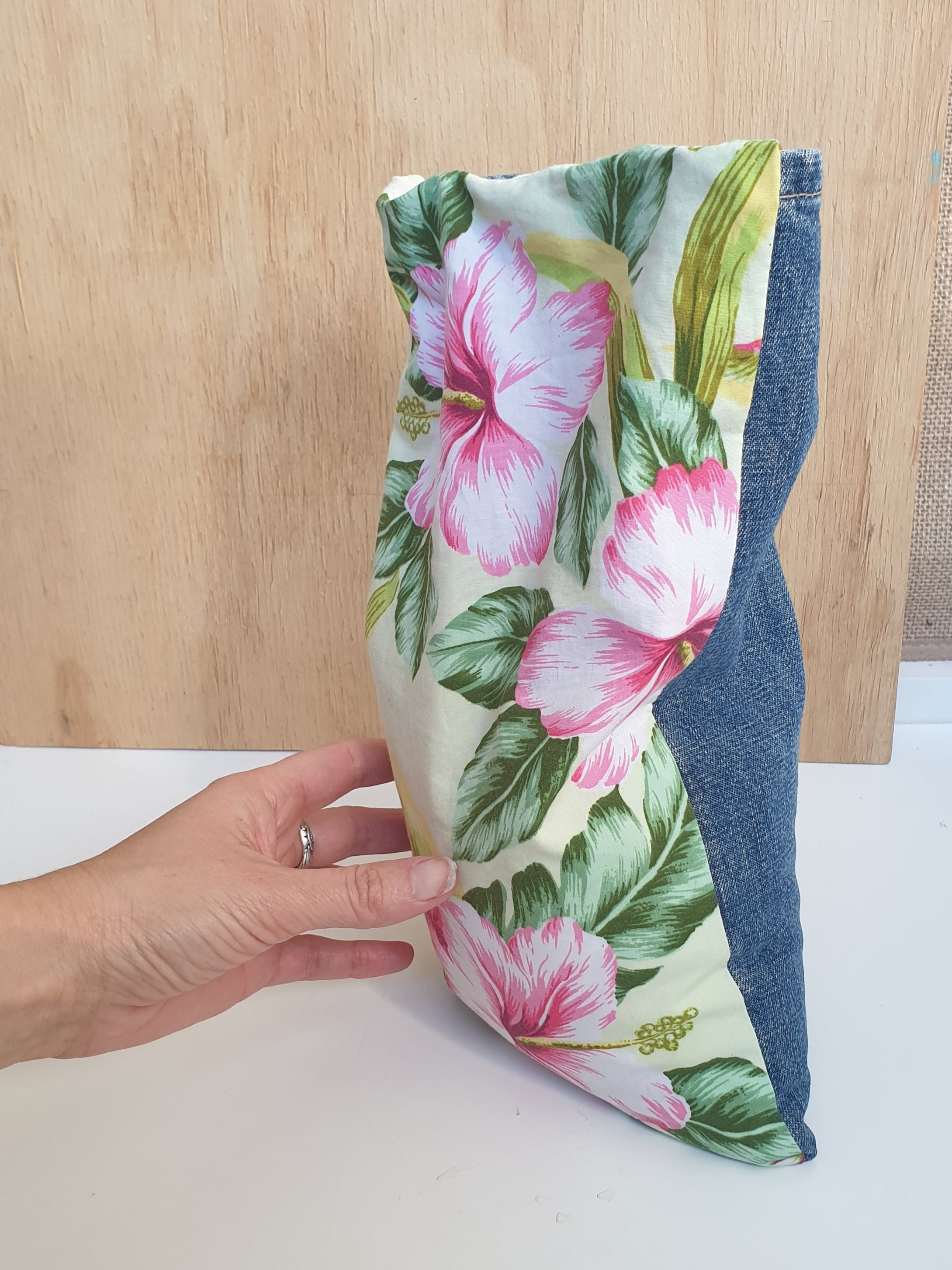 Eco friendly wheat bag made with upcycled fabric - Hibiscus flower Print