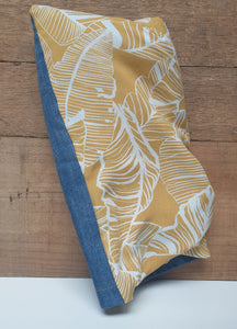"""Mustard Leaf print"" upcycled fabric wheat bag"