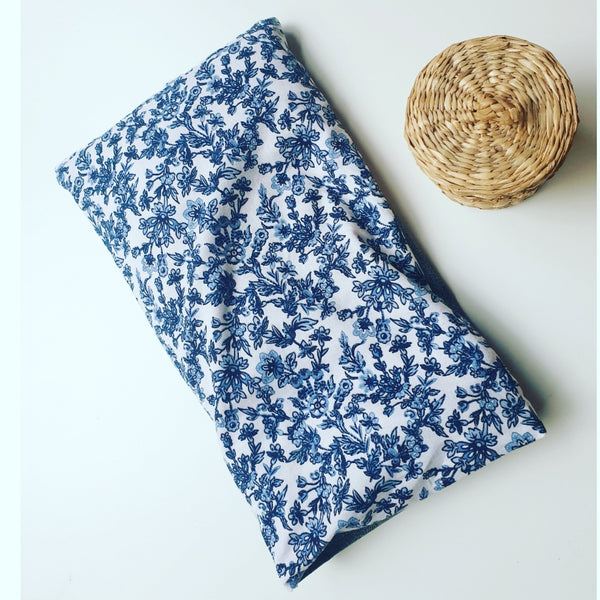 Eco friendly wheat bag made with upcycled fabric - Blue & white floral