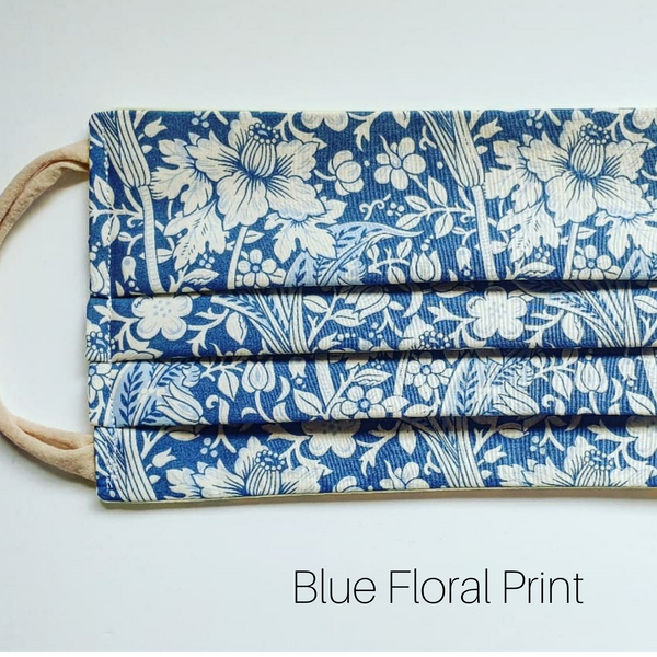 Blue Floral cloth face mask, sustainably handmade in Australia
