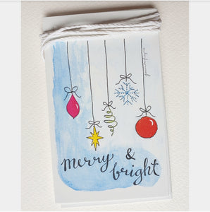 Merry & Bright Christmas Baubles Gift Tags Set Of 5