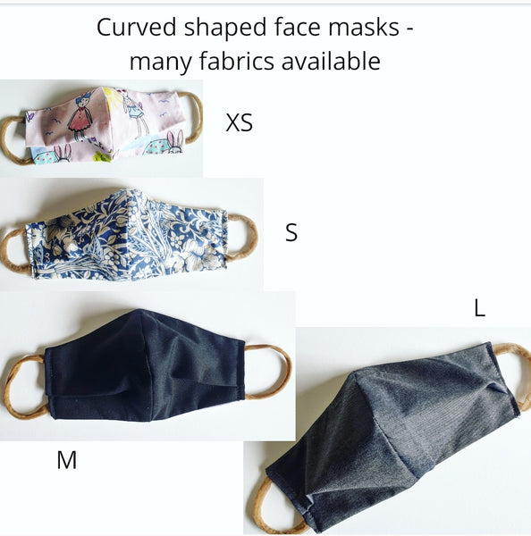 Eco friendly triple layer Reusable Cloth Face Masks, Curved Shape. Handmade in Melbourne Australia from upcycled fabric.