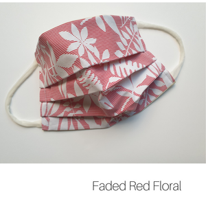 Faded Red Floral Leafy fabric face mask, eco friendly made with upcycled fabric, Melbourne