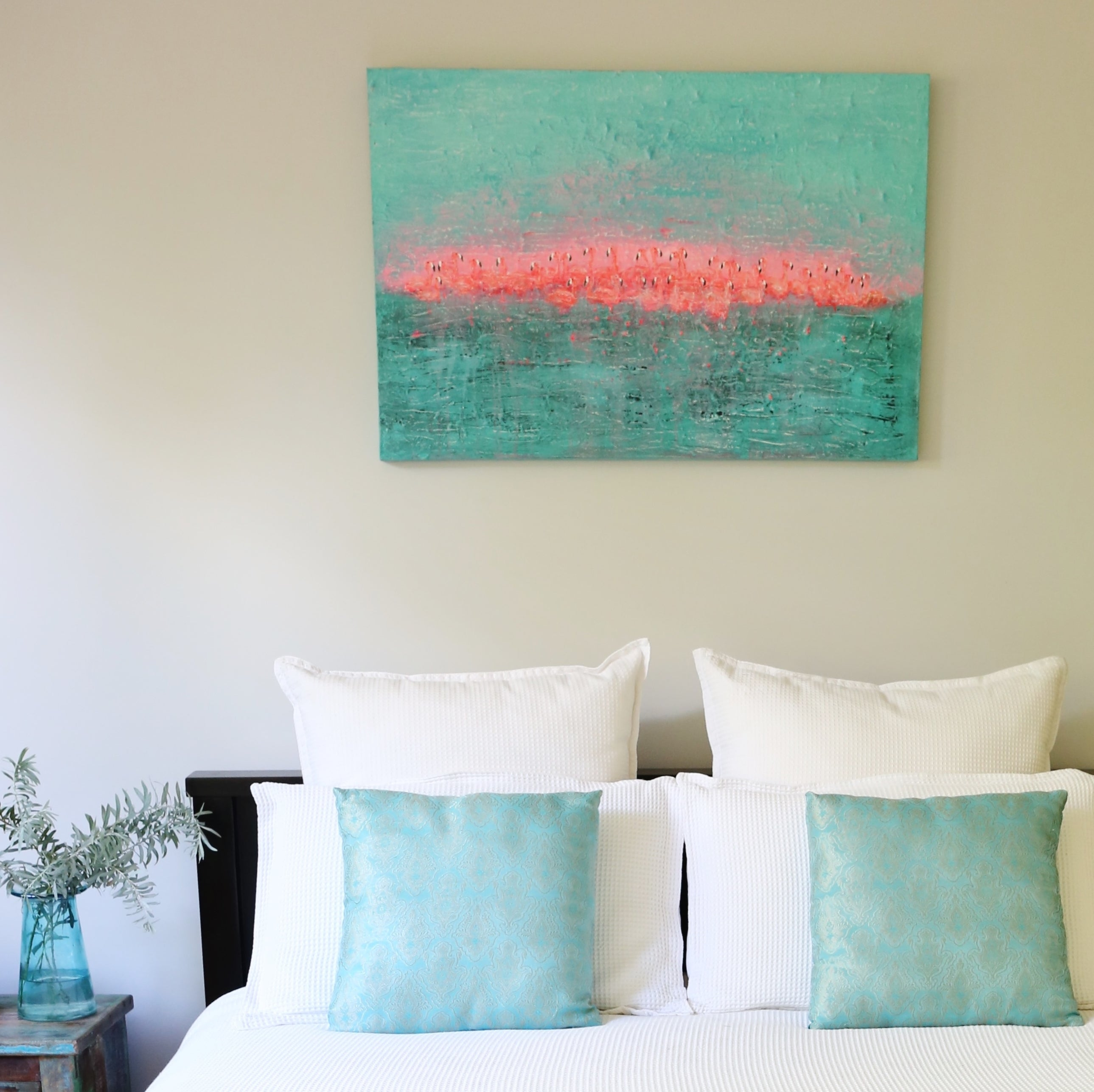 Bedroom Styling, Flamingos original mixed media art work on canvas by Jacinta Payne, Melbourne Australia