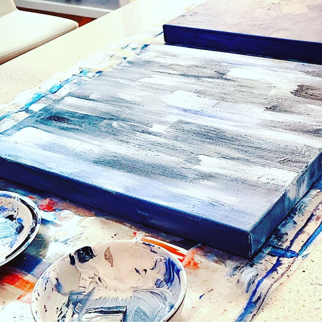 Jacinta Payne Art - studio scenes. Abstract artist, Melbourne Australia.