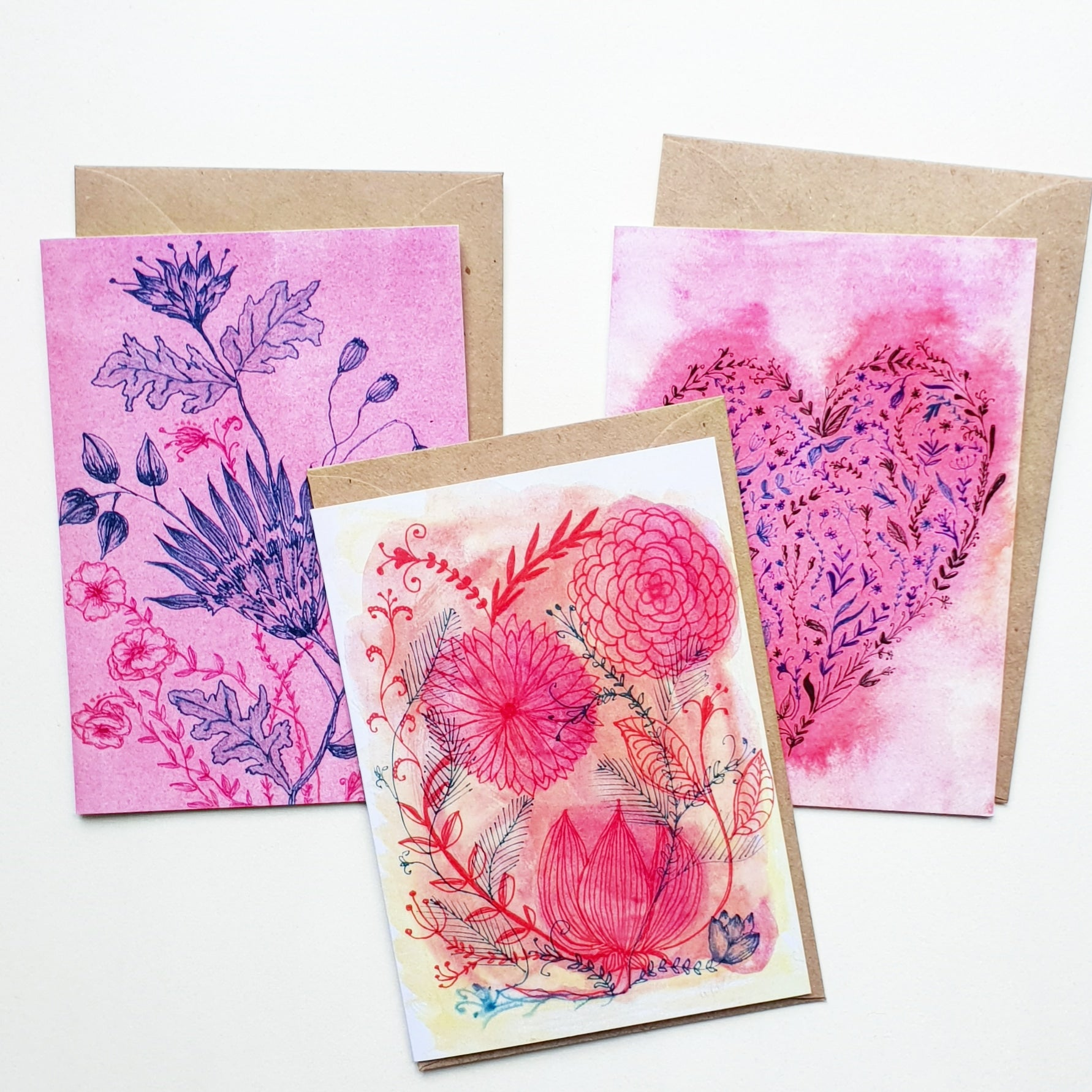 """""""Flowers and Hearts"""" 3 card set"""