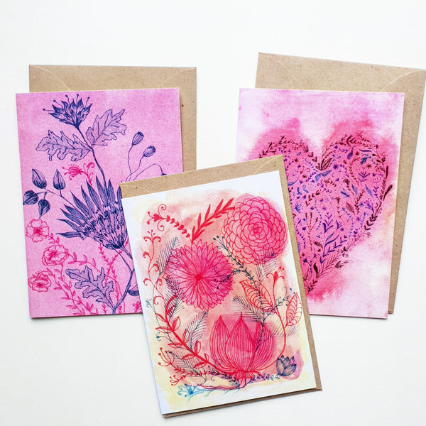 """Flowers and Hearts"" 3 pack greeting card set"